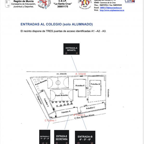 ENTRADAS AL COLEGIO: PLAN DE CONTINGENCIA C.E.I.P. LA SANTA CRUZ 2020