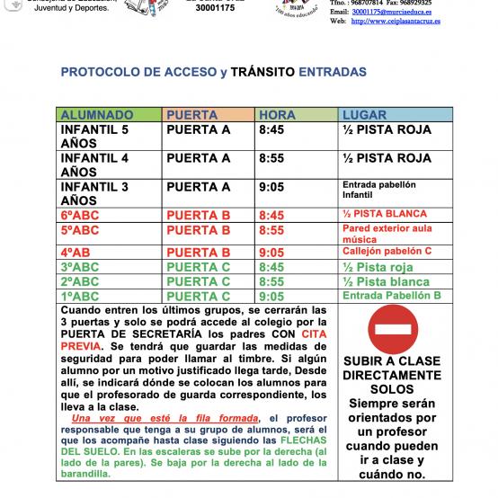PROTOCOLO DE ACCESO Y TRÁNSITO DE ENTRADAS