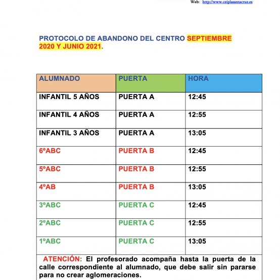 """PROTOCOLO ABANDONO DEL CENTRO """"JUNIO Y SEPTIEMBRE"""""""