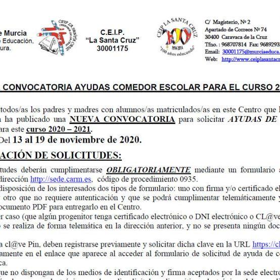 NUEVA CONVOCATORIA AYUDAS COMEDOR ESCOLAR PARA EL CURSO 2020-2021