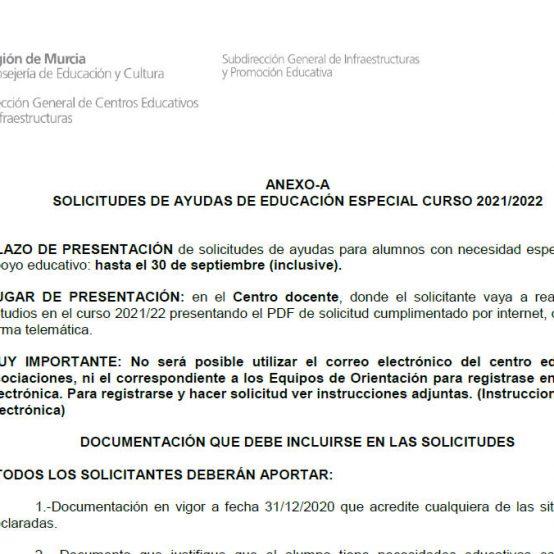 SOLICITUD DE AYUDA EDUCACIÓN ESPECIAL 2021-22