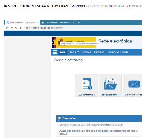 INSTRUCCIONES PARA REGISTRARSE EN LA SEDE ELECTRÓNICA